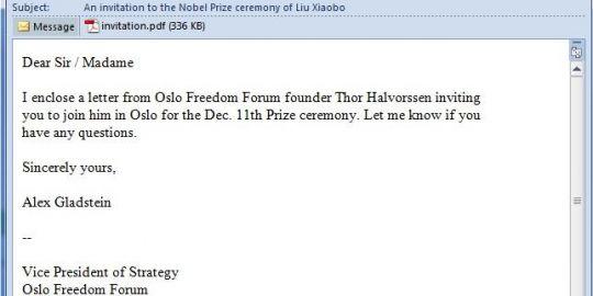 Une fausse invitation à la remise du Nobel cache un virus
