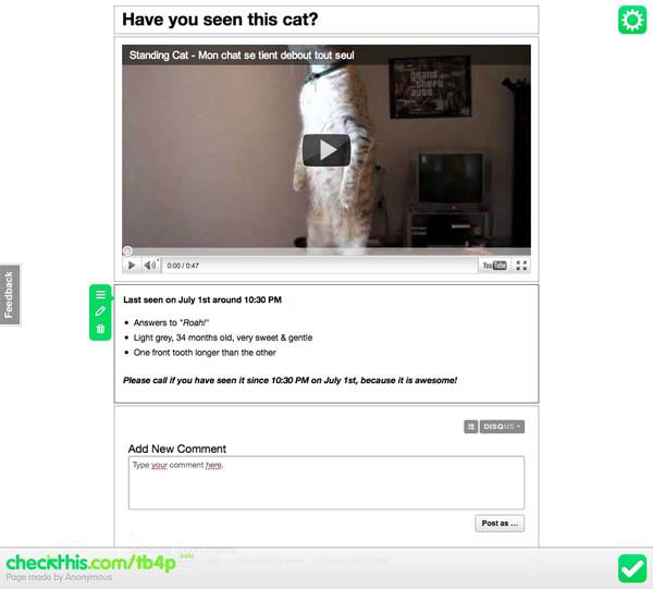 Avez-vous vu mon chat sur checkthis
