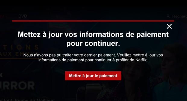 Voici à quoi ressemble un message de non-paiement sur le site de Netflix.