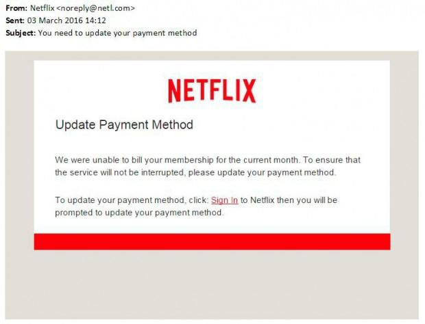 Le message adressé aux abonnés reprend l'interface type des mails de Netflix.