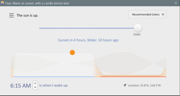 F.lux utilise la position du soleil pour adapter les couleurs de l'écran.