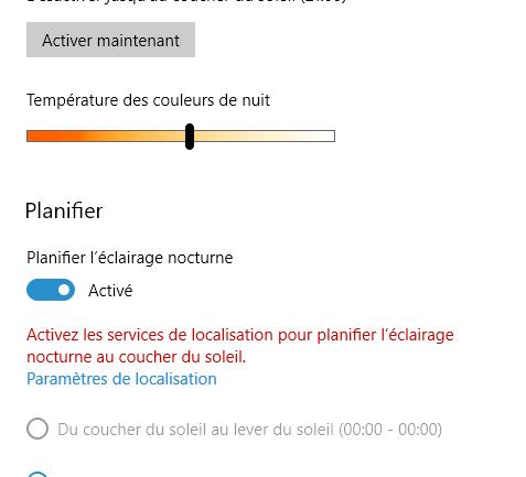 La fonction d'éclairage nocturne de Windows 10.