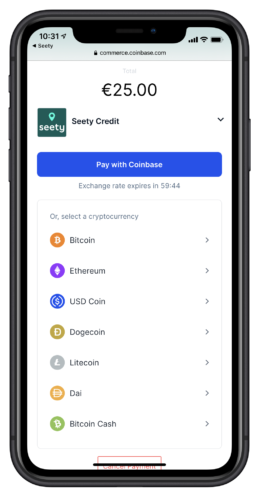 Seety permet de payer le stationnement en bitcoin, bitcoin cash, ethereum, dai, litecoin, dogecoin et USD.